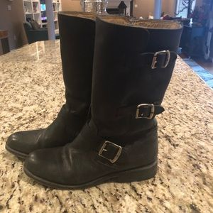 Black Frye leather mid shaft boot